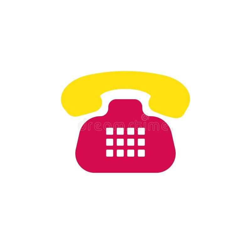 Retro telefon ikona starszy rocznik telefonu Symbol wezwanie i komunikacja ilustracji