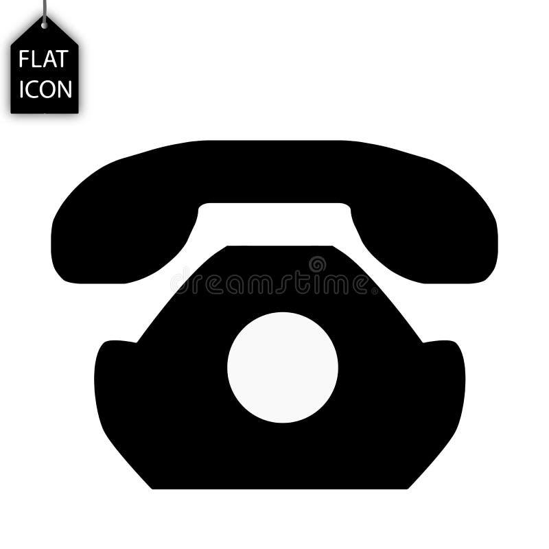 Retro telefon ikona Stary telefonu znak Liniowe ikony na białym tła czerni ilustracja wektor