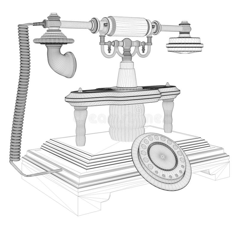 Retro- Telefon lokalisiert auf weißem Vektor lizenzfreie abbildung