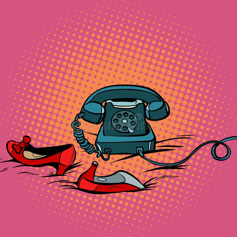 Retro- Telefon und die roten Schuhe der Frauen vektor abbildung
