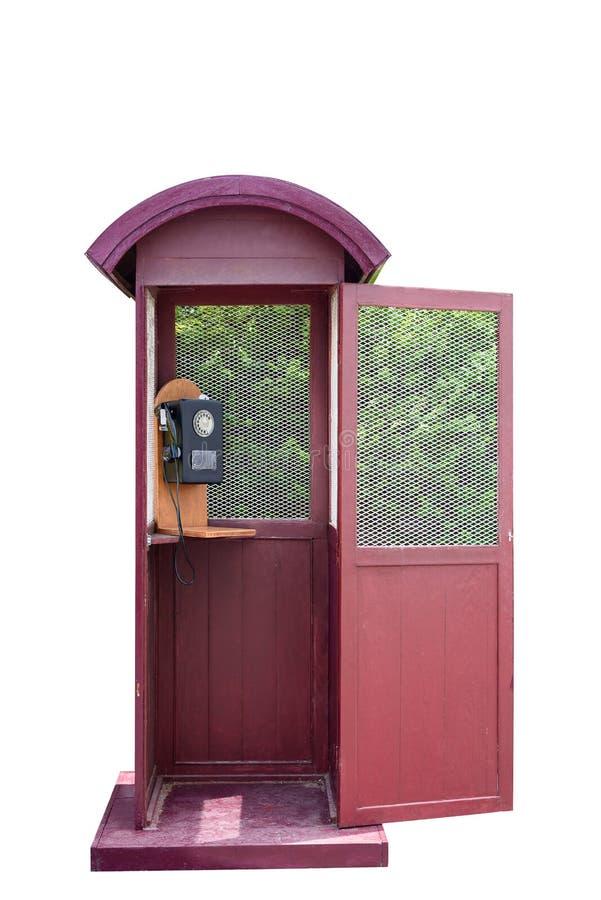 Retro telefonbås och roterande gammal telefon på vit bakgrund arkivfoton