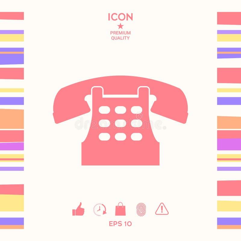 Retro telefoniczna ikona ilustracji