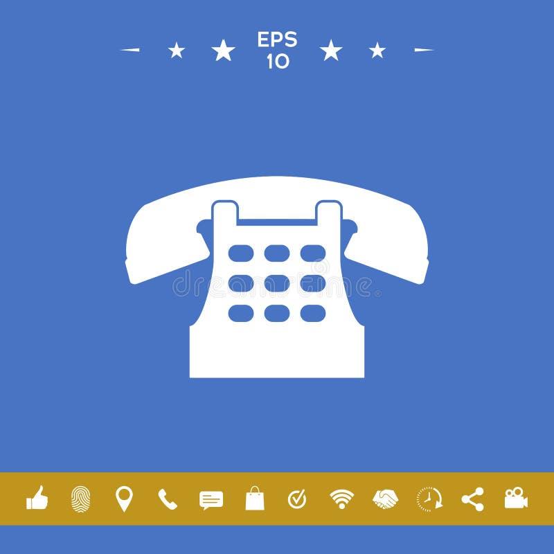 Retro telefoniczna ikona ilustracja wektor