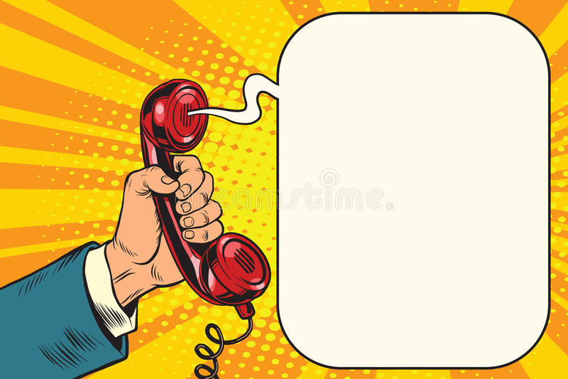 Retro telefonlur i hand vektor illustrationer