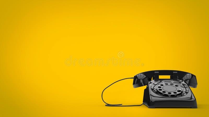 Retro telefono disegnato nero royalty illustrazione gratis