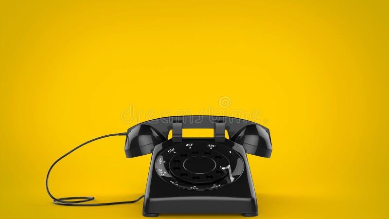 Retro telefono disegnato nero su fondo giallo royalty illustrazione gratis