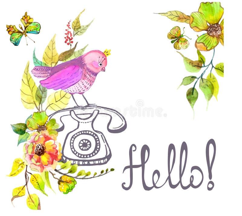 Retro telefono e fiori e testo grafici dell'acquerello - ciao illustrazione di stock
