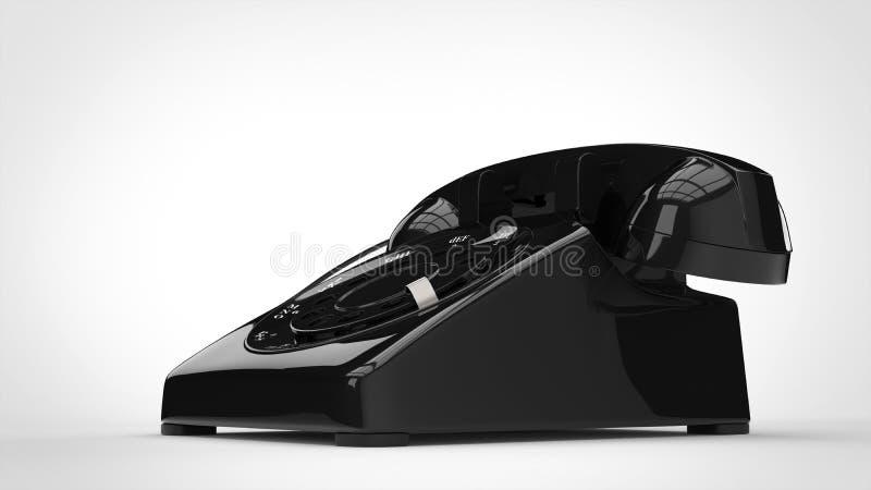 Retro telefono nero brillante illustrazione di stock