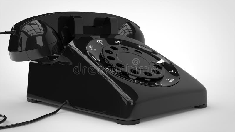 Retro telefono nero - colpo del primo piano illustrazione vettoriale