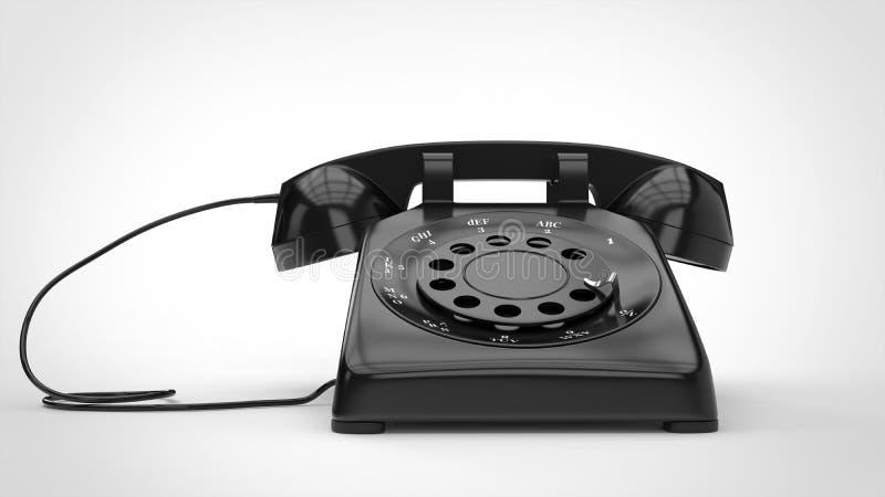 Retro telefono nero fresco illustrazione vettoriale