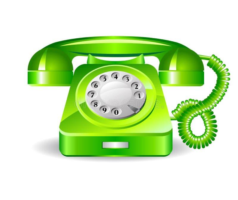 Retro telefono verde illustrazione di stock