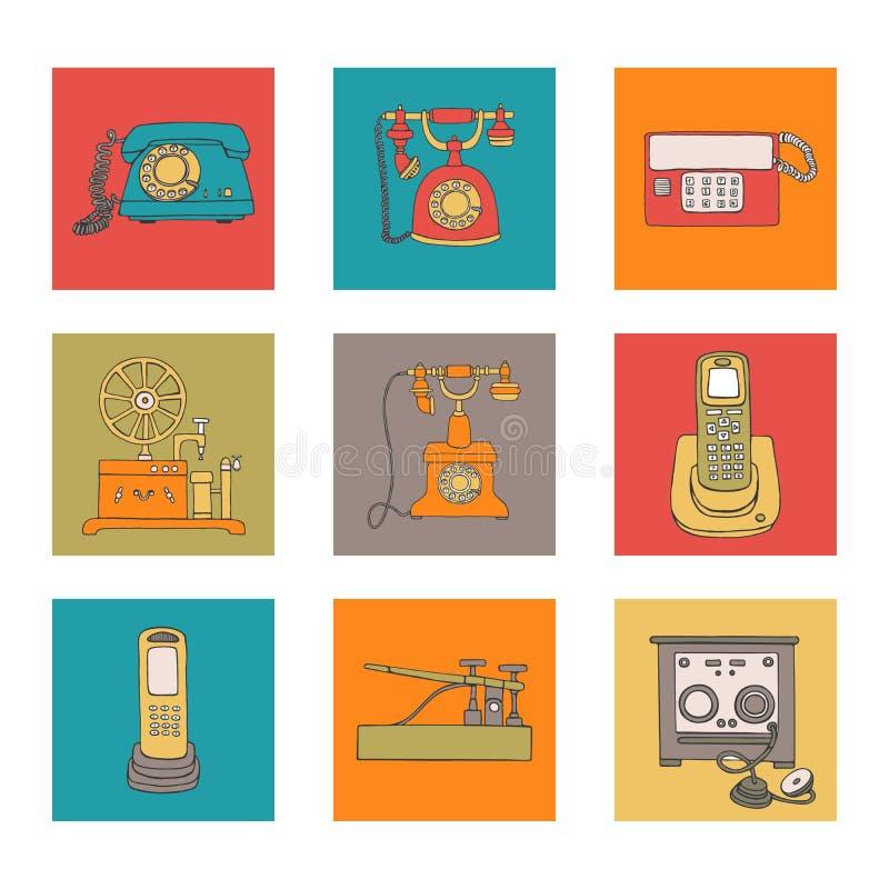 Retro telefonuppsättning stock illustrationer