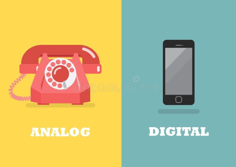 Retro telefoon in Analoge Leeftijd en moderne telefoon in Digitaal tijdperk vector illustratie
