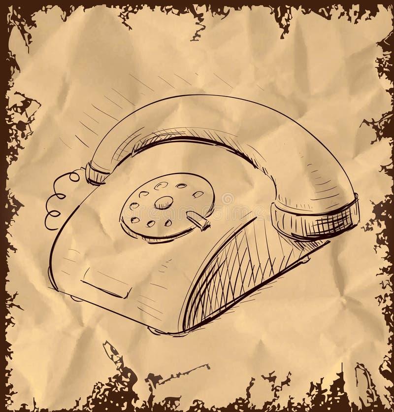 Retro Telefoon Op Uitstekende Achtergrond Stock Foto