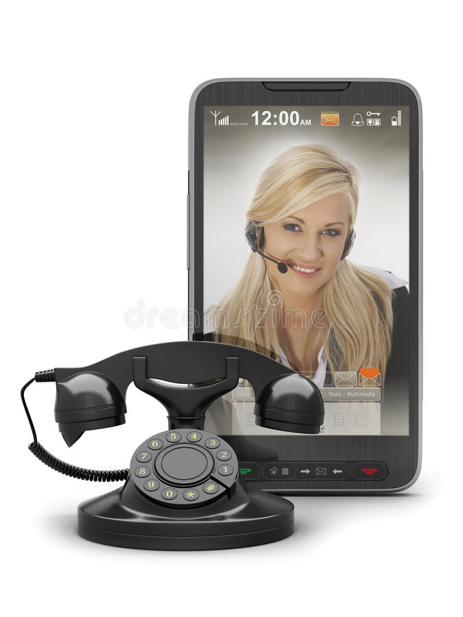 Retro telephone and cell phone royalty free stock images