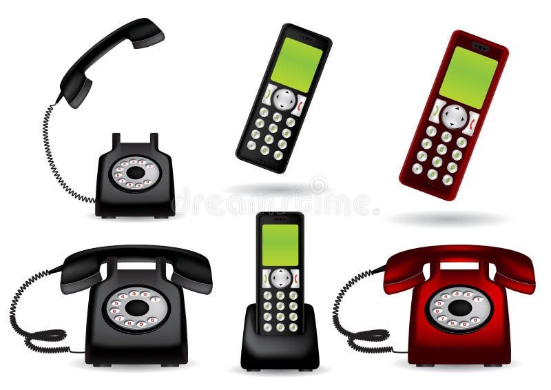 retro telephone and cordless phone stock vector illustration of rh dreamstime com Telephone with Cordless Phone Base Cordless Phone Clip Art Black