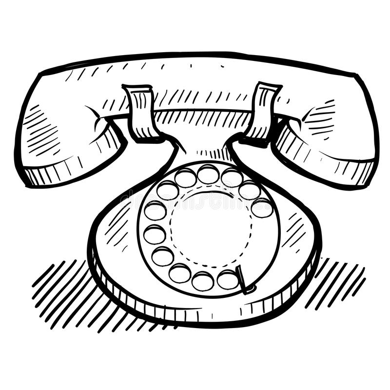 Retro telephone drawing. Doodle style retro rotary telephone, communication, or contact illustration in vector format stock illustration