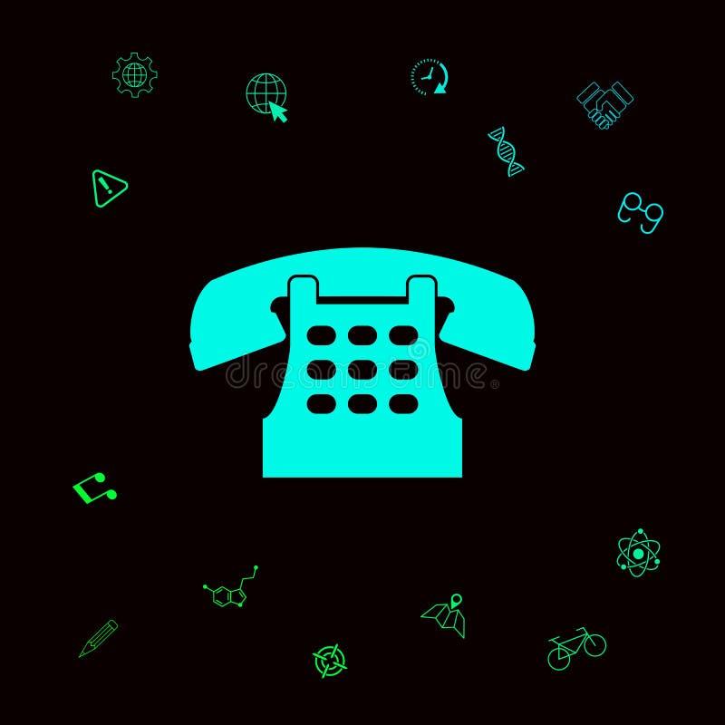 Retro telephone icon . Graphic elements for your designt stock illustration