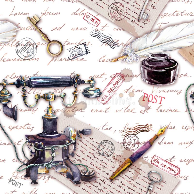 Retro telephone, ink bottle, pen, written feather, aged paper, old letters, handwritten text, vintage keys. Repeating royalty free illustration