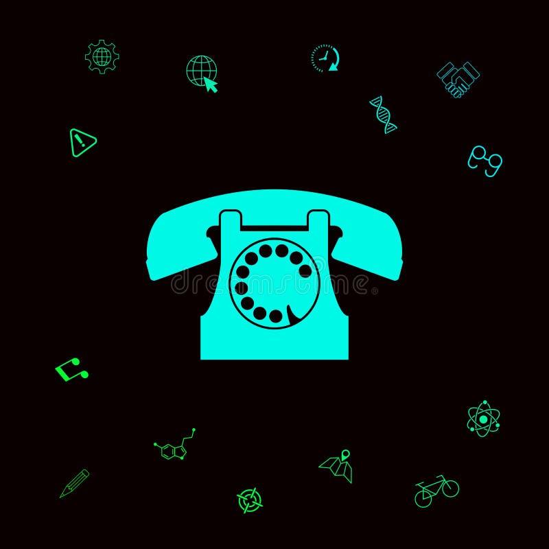 Retro telephone symbol . Graphic elements for your designt stock illustration