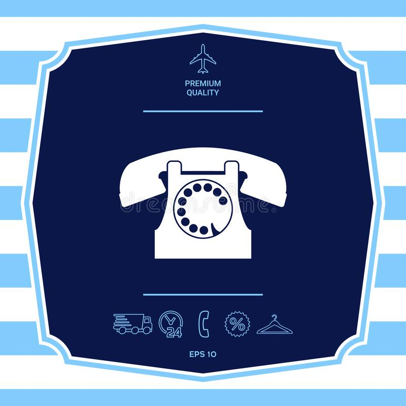 Retro telephone symbol. Graphic elements for your design. Retro telephone symbol - graphic element for yor design royalty free illustration