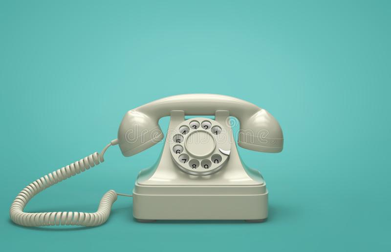 Retro telephone on turquoise background. 3D rendering stock illustration