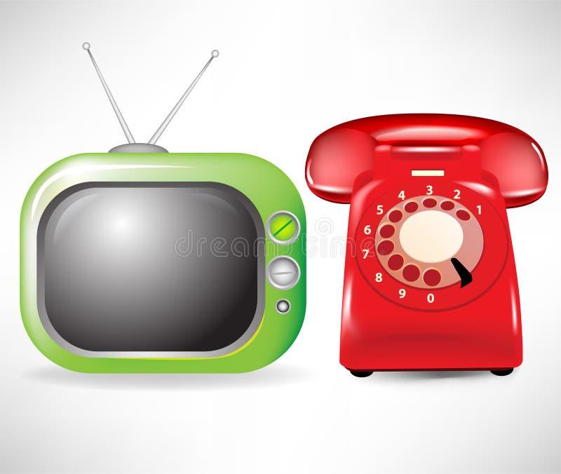 Retro televisie en telefoon vector illustratie