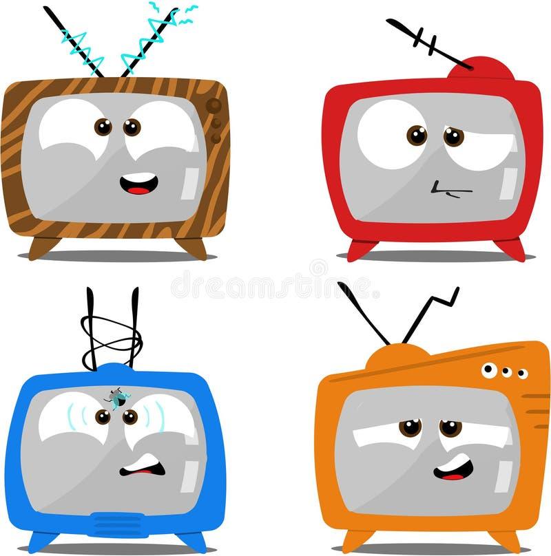 Retro Televisies van het beeldverhaal royalty-vrije illustratie