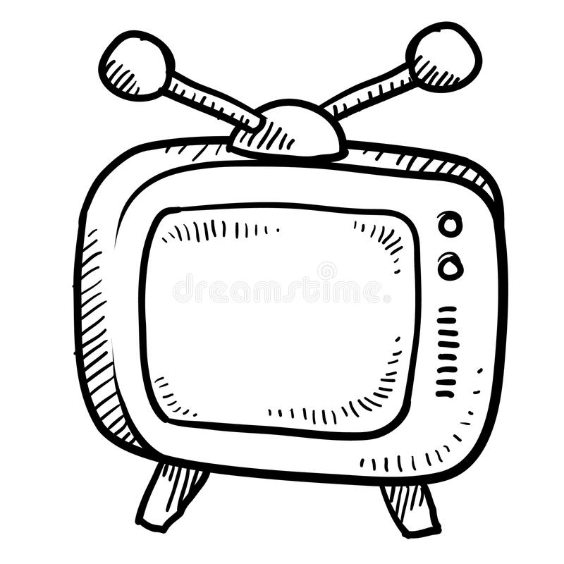 Retro televisieschets royalty-vrije illustratie