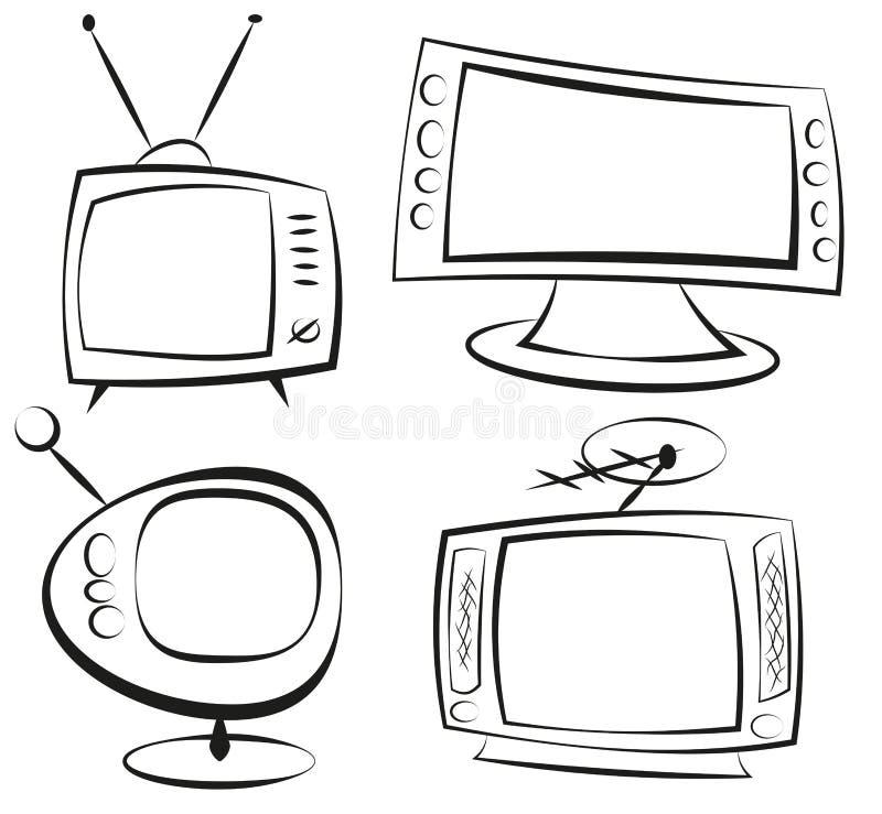 retro television vektor illustrationer