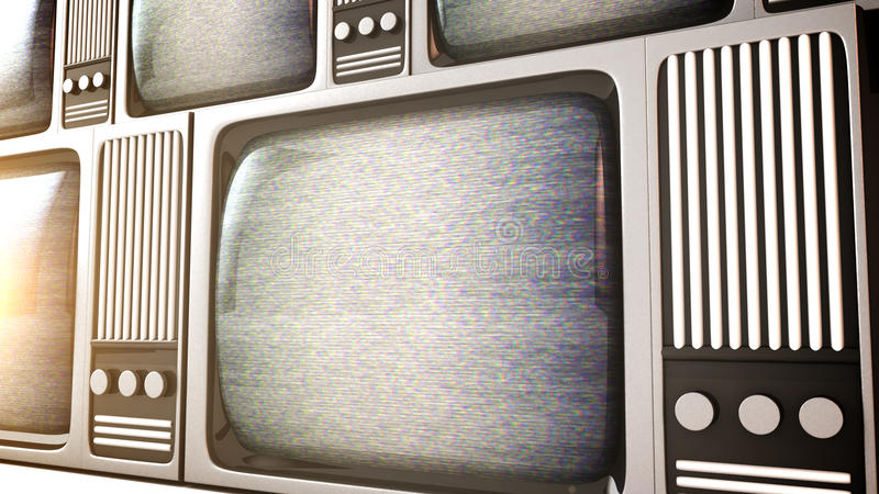 Retro television equipment noise display screen stock illustration