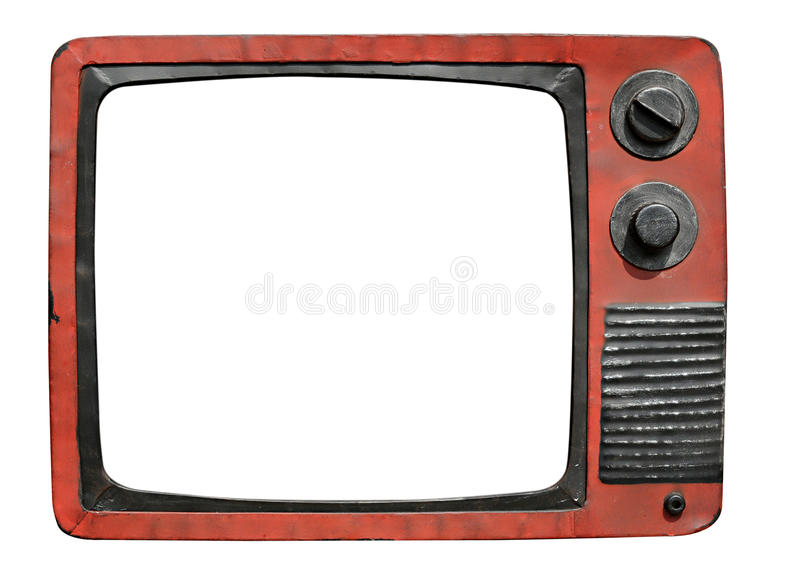 Retro television set. With a blank white screen isolated on a white background royalty free stock photography