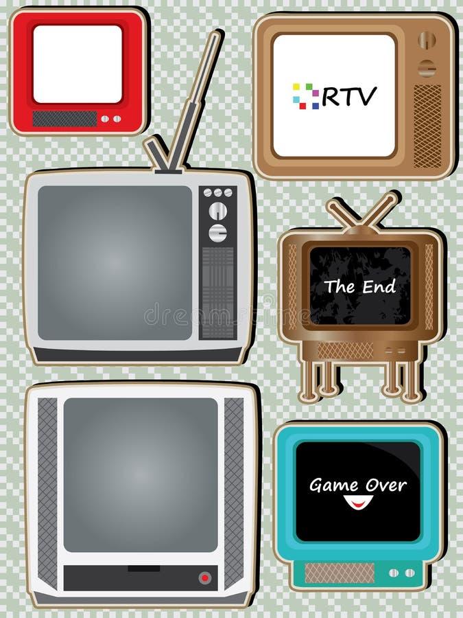 Retro Television Set_eps. Illustration of retro television set on squares pattern background. --- This .eps file info Version: Illustrator 8 EPS Document: 9 * 12 stock illustration