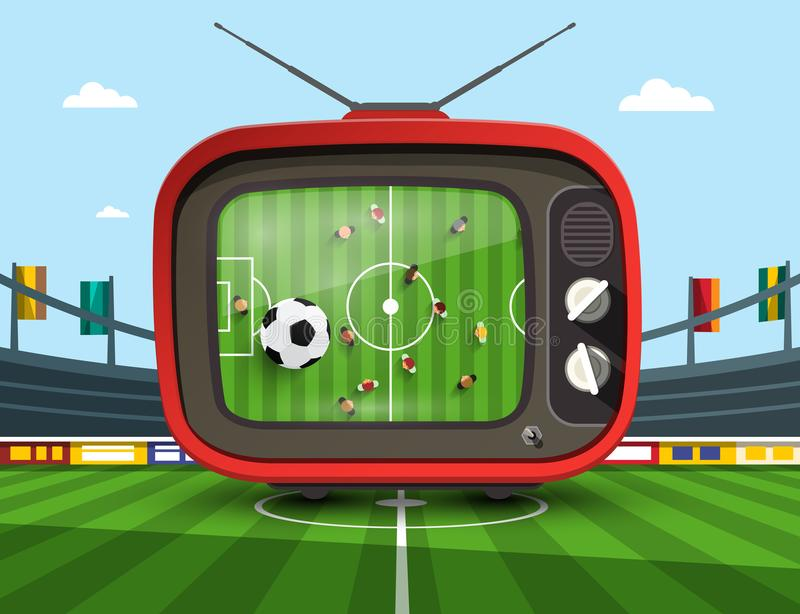 Retro Television with Soccer Match royalty free illustration