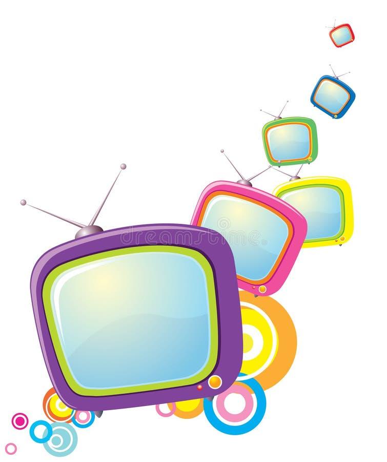 Retro televisions on white vector illustration