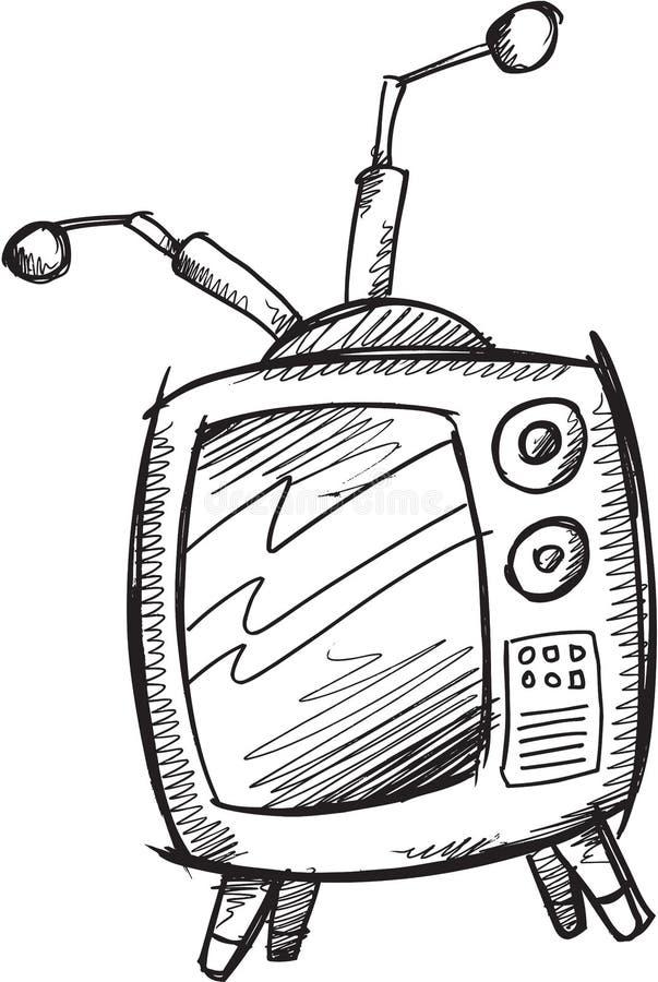 Retro televisionvektor för klotter royaltyfri illustrationer