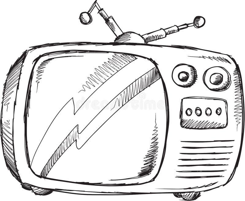 Retro televisionvektor för klotter vektor illustrationer