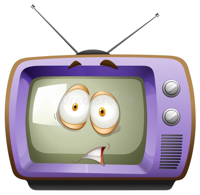 Download Retro telewizja z twarzą ilustracja wektor. Ilustracja złożonej z ilustracje - 57657523