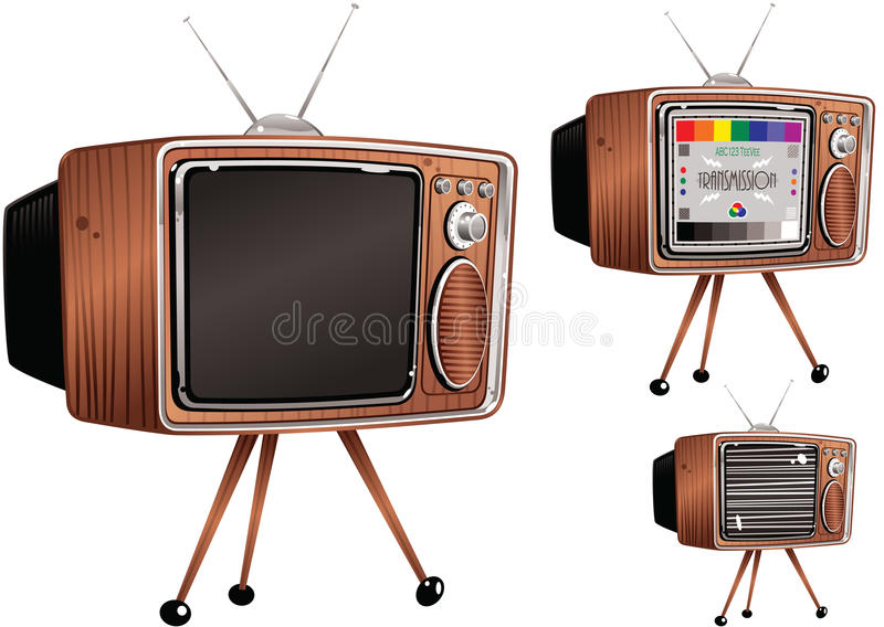 Retro telvision sets. A drawing of three old fashioned TV sets, one off, one showing a generic test card and one showing static. E.P.S. 10 vector file included stock illustration