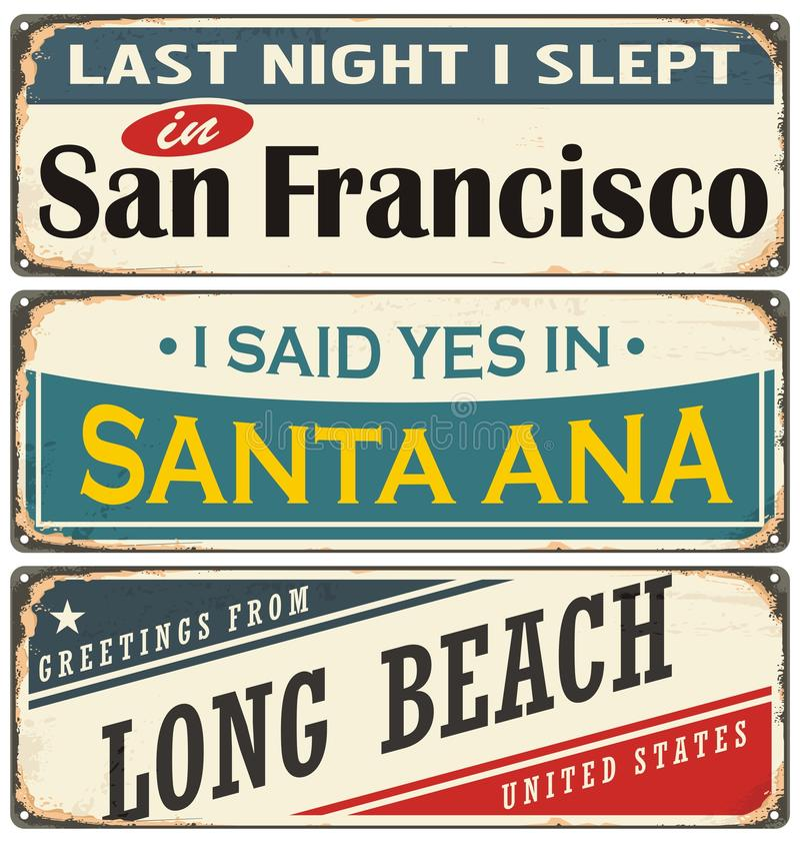 Retro tenn- teckensamling med USA stadsnamn stock illustrationer