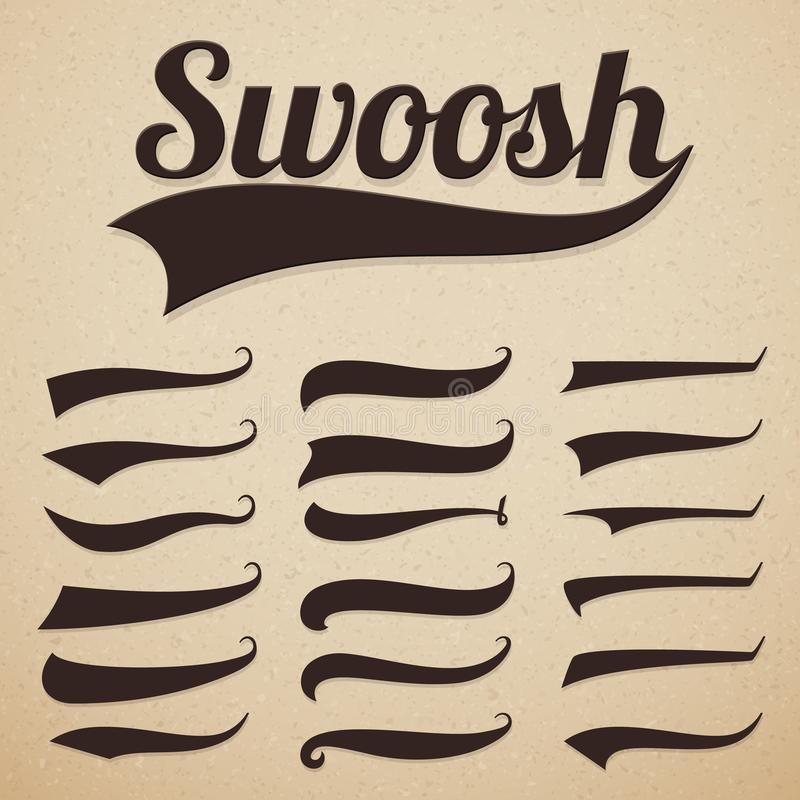 Retro texting tails. Swooshes swishes, swooshes and swashes for vintage baseball vector typography royalty free illustration