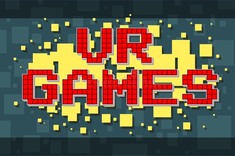 Retro textknapp för rött PIXEL för videospel vektor illustrationer
