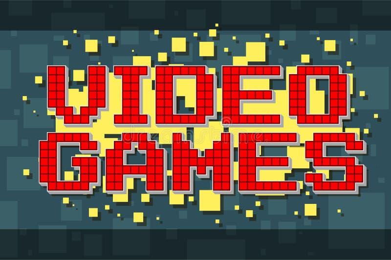 Retro textknapp för rött PIXEL för videospel royaltyfri illustrationer