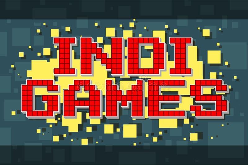 Retro textknapp för rött PIXEL för videospel stock illustrationer