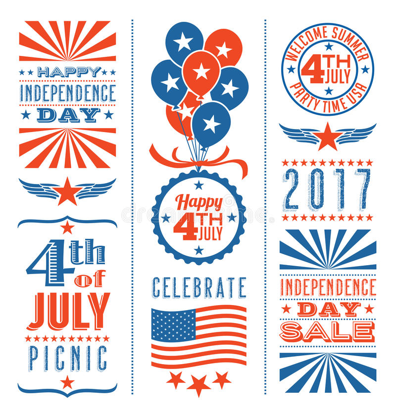 Retro 4th of July design elements. For greeting cards, web page banners, posters vector illustration