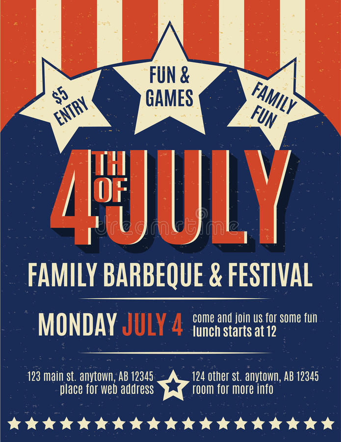 Retro 4th of July grunge flyer template. Independence day flyer template with stars and stripes in a retro style royalty free illustration