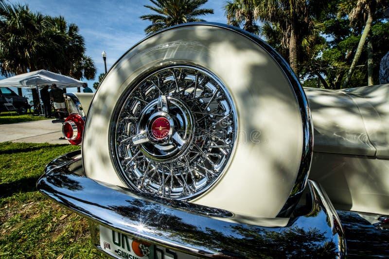 Retro thunderbird auto with spare tire royalty free stock photo