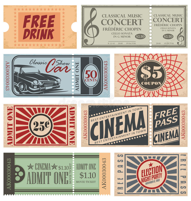 Retro Tickets and Coupons stock illustration
