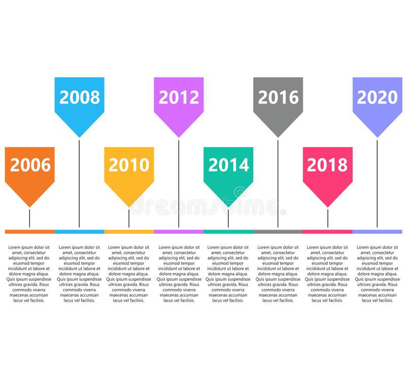 Retro timeline infographic. road map, infographic template with business timeline. workflow or process diagram on white background royalty free illustration