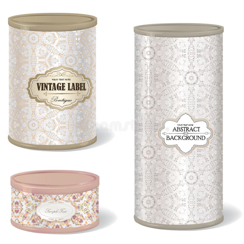 Retro tin can. box set round shape with vintage label vector illustration